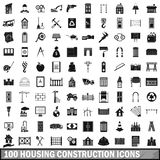 100 housing construction icons set, simple style. 100 housing construction icons set in simple style for any design vector illustration Royalty Free Stock Image