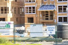 Housing construction site of town homes royalty free stock photos
