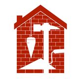 Housing construction symbol. Housing construction with tool symbol royalty free illustration