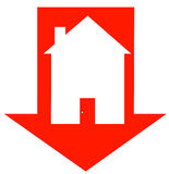 Housing crisis. Red down arrow with house inside - crashing housing market - vector Royalty Free Stock Image