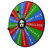 Housing crisis decision tool. Dartboard for deciding how to handle the housing crisis Royalty Free Stock Photos
