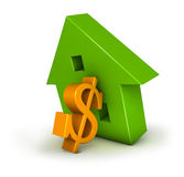 Housing Crisis Dollar. 3D illustration of a house and a $ symbol resembling the difficulties of a tough market Stock Photo