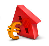 Housing Crisis Dollar. 3D iIllustration of a house and an Euro symbol resembling the difficulties of a tough market Royalty Free Stock Images