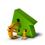 Housing Crisis Euro. 3D illustration of a house and an Euro symbol resembling the difficulties of a tough market Royalty Free Stock Image