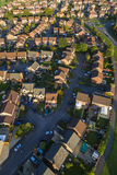 Housing development. Aerial view of British red brick houses in a modern estate Royalty Free Stock Photography