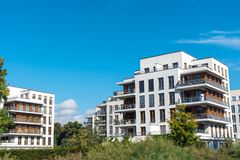 Housing development area with new apartment house Royalty Free Stock Image