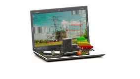 Housing development city planning concept - Architect`s with city map on laptop screen stock footage