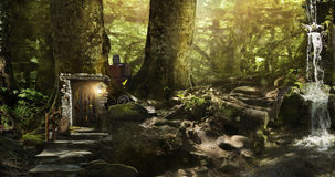 Housing dwarves and elves in a magical forest Royalty Free Stock Photography