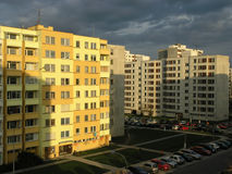 Housing estate. Panel houses. Housing estate with dramatic clouds stock photos
