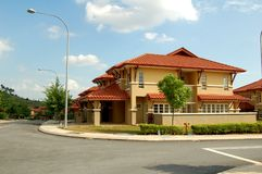 Housing Estate. Newly constructed link/terrace houses in Malaysia Stock Photo