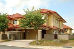 Housing Estate. New completed link house in Malaysia Royalty Free Stock Image