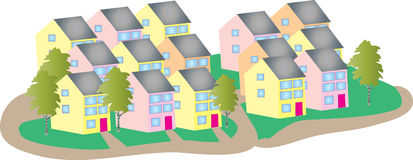 Housing estate. A cartoon illustration of a housing estate with houses and trees Stock Image