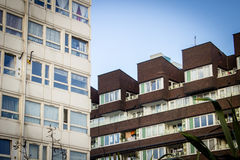 Housing Estate. Contrasting styles of architecture on a housing estate in a rundown area of London in need of urban regeneration stock photos