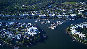 RiverLinks Estate next to Coomera River Morning view Hope Island, Gold Coast with large housing estate royalty free stock photos