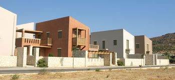 Housing estate in Greece. Single family housing development in Crete royalty free stock photography