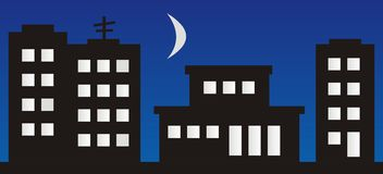 Housing estate. High-rise buildings with shops. Night scene royalty free illustration