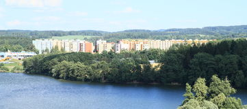 Housing estate of Jindrichuv Hradec with pond Vajgar Royalty Free Stock Photography