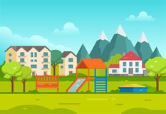 Housing estate with playground by the mountains - modern vector illustration Stock Images