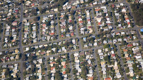 Housing Estate rooftops. Aerial view of a housing estate in Queensland showing colorful roof tops Stock Images