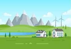 Housing estate with windmills by the lake - modern vector illustration Stock Photography