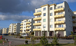 Housing estates. On a cloudy day. Housing development Stock Image