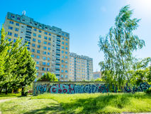 Housing estates in Poland with a graffiti painted  Stock Photo