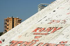 Housing Estates Seen Behind the Pyramid at Tirana Royalty Free Stock Photography