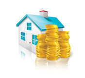Housing Expenses. Digital Illustration of the cost of a home stock illustration