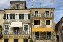 Housing facade in the city of Corfu, Greece Stock Images