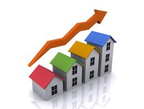 Housing growth. An illustration of 3d real estate icon of growth in housing Royalty Free Stock Image
