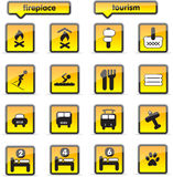 Housing icons. In orange colour, all vector vector illustration