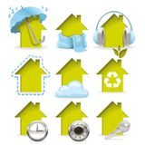 Housing icons. All of the properties inherent in a modern building in one set Stock Image