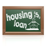 Housing loan words on a chalkboard. Image with hi-res rendered artwork that could be used for any graphic design Stock Images