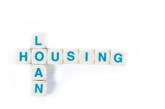 Housing loans Wording. Wods block Housing loans on white background Royalty Free Stock Photos