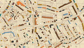 Housing map. Colorful editable illustrated map of housing in a generic town vector illustration
