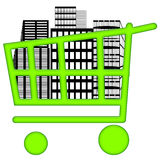 Housing Market. Big buildings inside shopping cart over white background Royalty Free Stock Image