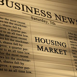 Housing market. In the news paper on a soft background vector illustration