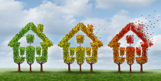 Housing Market Change. And real estate industry changing conditions as a concept with a group of trees with leaves turning from green to autumn yellow and red Royalty Free Stock Photography