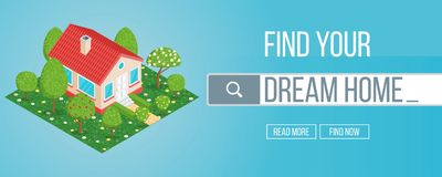 Housing market concept. Dream home searching. Isometric banner. Highly detailed illustration Stock Photo
