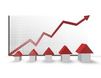 Housing market with growth graph Royalty Free Stock Image