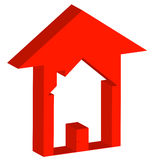 Housing market increase. 3d - red up arrow with house inside - rising prices in housing market - vector Royalty Free Stock Photography