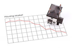 Housing market recession. Graph showing housing market decline and model house stock photo