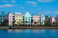 Housing in Nassau. Condos on the harbour, Nassau Bahamas stock image