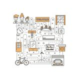 Vector thin line art housing poster banner template. Housing poster banner template. House interior with furniture, garage, auto, bike, flowerbed vector thin stock illustration