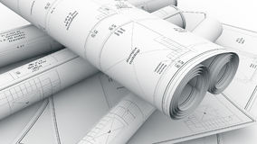 Housing project blueprints Royalty Free Stock Photos