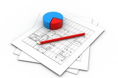 Housing Project and Pie Chart Royalty Free Stock Photo