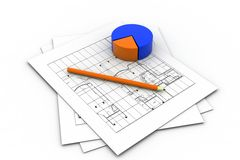 Housing Project and Pie Chart Royalty Free Stock Image