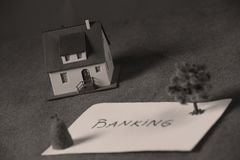 Investment in Real estate, house Banking. Housing and real estate industry messages, for sale Stock Image