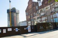 Housing redevelopment on Thames Chelsea. Chelsea London United Kingdom - 8 April 2017: Housing redevelopment on Thames Chelsea Stock Photography