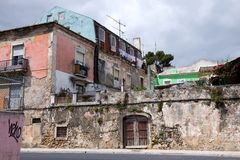 Housing ruins in Lisbon Royalty Free Stock Images